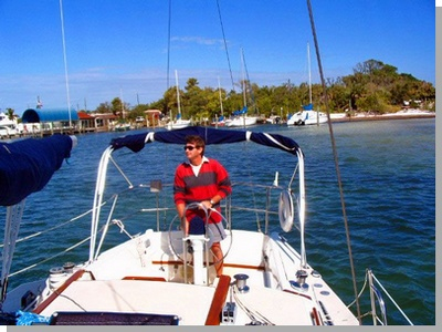 Zig Zag, a 30 foot Catalina Yacht, with Ed at helm